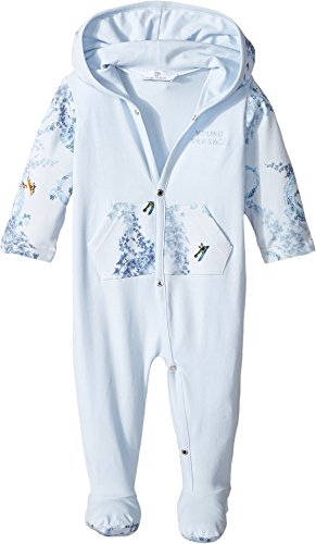 Versace Kids  Baby Boy's Long Sleeve Footie w/ Hood & Barocco Detail (Infant) Blue - Versace For Infants