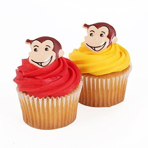 Curious George 24 Cupcake Topper Rings - Curious George Birthday Favors