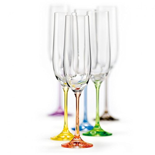 Bohemian Stem - Bohemian Crystal Rainbow Set of 6 Champagne Flutes Crystal Glasses 6.5 Oz Each Stem Different Color Czech Republic - LEAD FREE by Crystalex