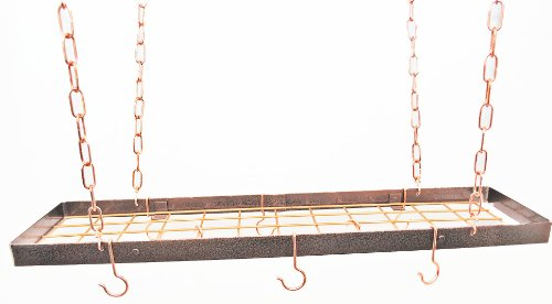 Rectangle Hanging Pot Rack with Grid Finish: Hammered Copper/Copper