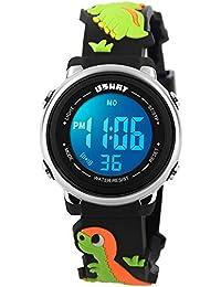 Kid Watch 3D Cute Dinosaur Cartoon Multi Function 50M Waterproof Sport LED Alarm Stopwatch Digital Child Wristwatch for Boy Girl Black