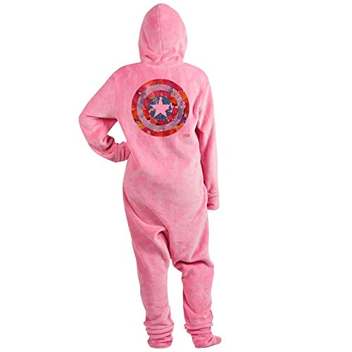 CafePress Captain America Tie Dye Shield Novelty Footed Pajamas, Funny Adult One-Piece PJ Sleepwear Pink