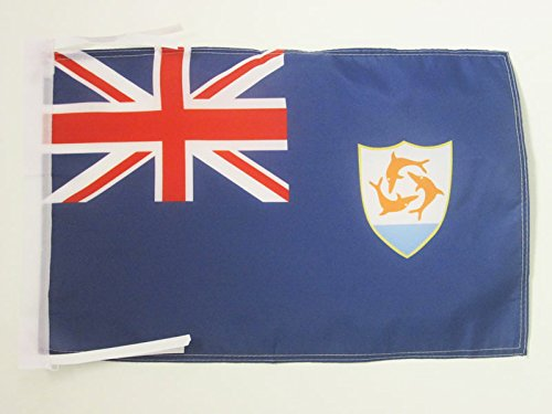 AZ FLAG Anguilla Flag 18'' x 12'' Cords - Anguillian - British Small Flags 30 x 45cm - Banner 18x12 -