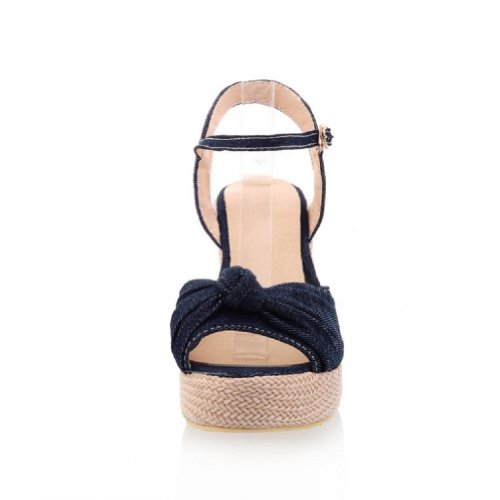 Carol Shoes Womens Platform Wedge Heel Peep Toe Sandals Dark Blue uK2PX2lYU