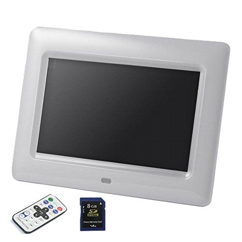 GAXmi HD 7 inch Digital Picture Frame Multiple Functions Photo Display with Remote + Free 8GB SD Memory Card (White)