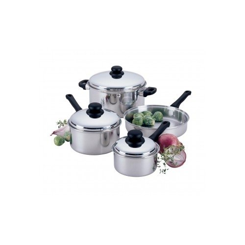 Focus Foodservice KPW9007 Clad Bottom Lodging Industry Cookware, 7 Pieces, Stainless Steel with Aluminum Clad Bottom by Focus Foodservice (Image #1)