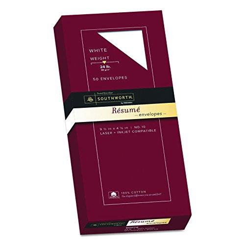 Southworth Exceptional Resume Envelopes, 100% Cotton, Size 10, White, 50 Count (R14-10L)