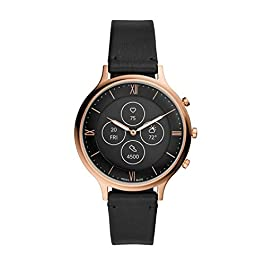 Fossil Women's 42MM Charter HR Heart Rate Stainless Steel and Silicone Hybrid HR Smart Watch, Color: Rose Gold/Black…