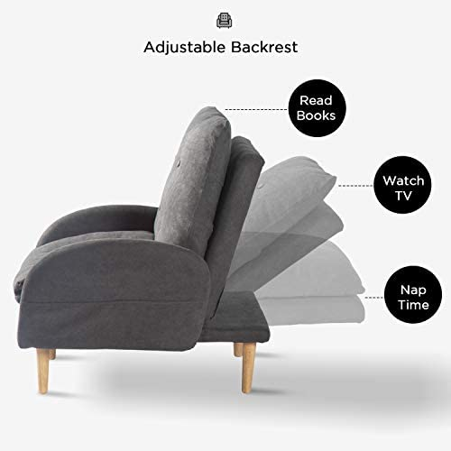Aclumsy Single Recliner Chair Adjustable Backrest Sofa Chair with Ottoman Fabric Living Room Seating,Dark Grey