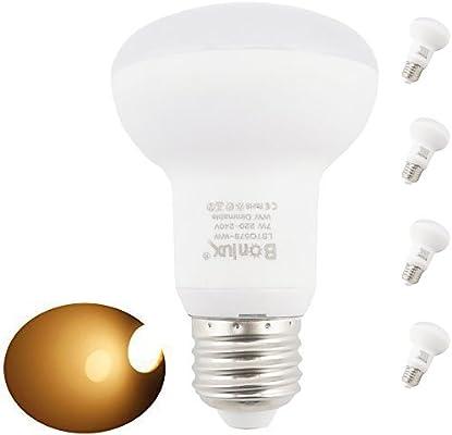 Bonlux 4-Packs regulable R63 ES bombilla LED de 7 vatios blanco cálido 2700K 200-240 voltios Tornillo E27 R63 60W Foco LED Equivalente: Amazon.es: ...