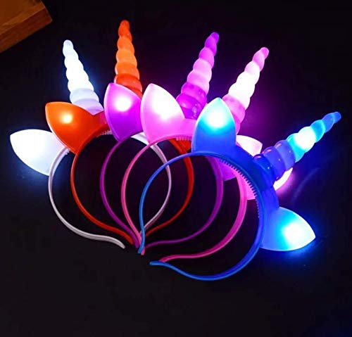 Astra Gourmet LED Flashing Unicorn Headbands, 4 Pack Light up Glow Unicorn Horn Headband Unicorn Party Favors Birthday Gifts]()