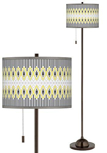Desert Geometric Giclee Glow Bronze Club Floor Lamp - Giclee Glow