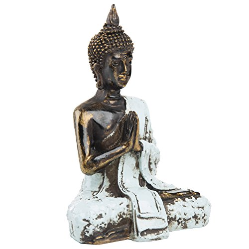 MyGift 7-Inch Bronze Resin Meditating Thai Buddha Statue with Rustic Blue Attire (Buddha Statue Seated)