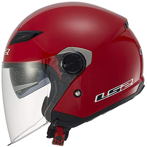 LS2 Helmets 569 Track Solid Open Face Motorcycle Helmet with Sunshield (Red, X-Large) ()