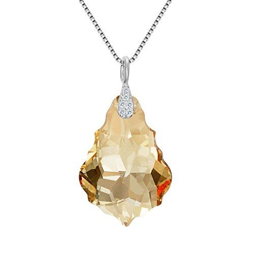 EleQueen 925 Sterling Silver CZ Baroque Drop Pendant Necklace Light Colorado Topaz Color Made with Swarovski Crystals