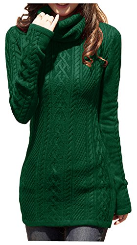 - v28 Women Polo Neck Knit Stretchable Elasticity Long Slim Sweater 1216,DarkGreen