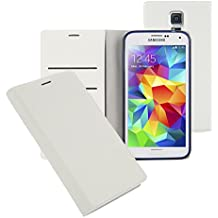 Note4 Soft Leather Wallet Case, Samsung Galaxy Note 4 Diary Flip Cover - ID, Card, Cash Slot (White)