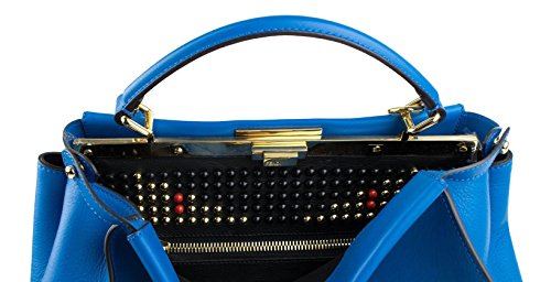 Fendi Handbag Blue (Fendi Royal Monster Blue Leather Peekaboo Lrge Studded Satchel Handbag)