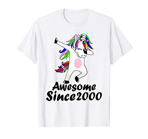 19th Birthday Gifts Awesome Since 2000 Unicorn Dabbing Shirt