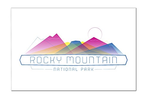 Rocky Mountain National Park, Colorado - Neon Abstract Mountain Range (18x12 Acrylic Wall Sign) Colorado Rockies Neon Sign