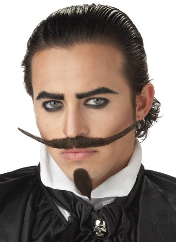 California Costumes The Dandy Moustache & Chin Costume Accessory, Dark Brown, One (Mustache And Goatee)