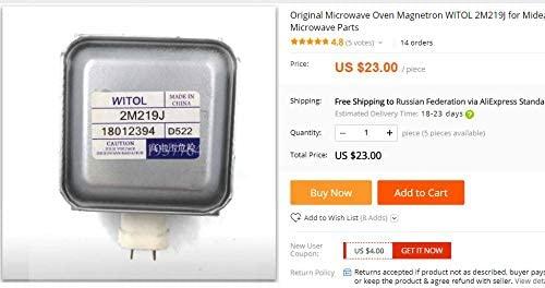 Original Horno microondas Magnetron WITOL 2M219J para ...