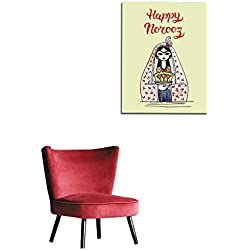 "longbuyer Home Decor Wall Hand Drawn Greeting Card Template Persian New Year Holiday Mural 16""x24"""