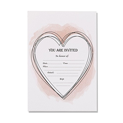 30 Invitations with Envelopes, Heart Design Wedding Invitation Cards, Party, Bridal Shower, Baby Shower, Reception, Rehearsal Dinner, Birthday Invites, 5x7 Inches Blank Rehearsal Dinner Invitations