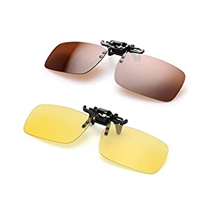 Clip on Sunglasses Flip Up Polarized Sunglasses Eyeglass by AUUS, Frameless Rectangle lens [2-Pack] UV400 Anti Glare Night Vision Glasses for Driving