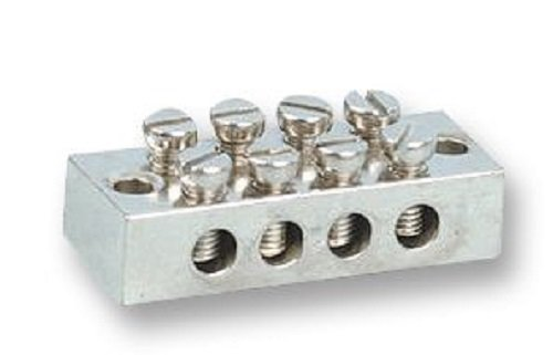 Pro Elec Earth Terminal Block 4 Way Solid, Nickel-Plated Brass, 19754R