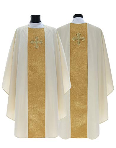 Cream Gothic Chasuble Vestment G754-K63 - Brocade Chasuble