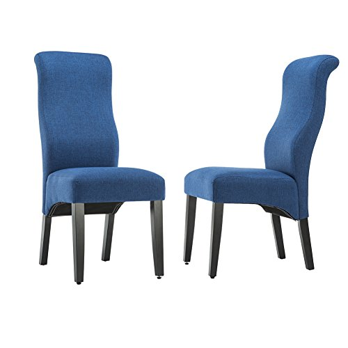 Andeworld Set of 2 Upholstered Dining Chairs High Back Padded Kitchen Chairs with Wood Legs Blue (black/blue/grey) (Chairs High Back Dining)