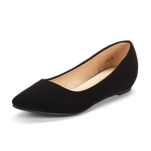 DREAM PAIRS Women's Jilian Black Nubuck Low Wedge Flats Shoes - 8 M US