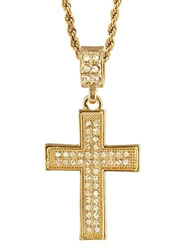 Hip Hop Bling Gold Tone Maltese Cross Pendant Free 24