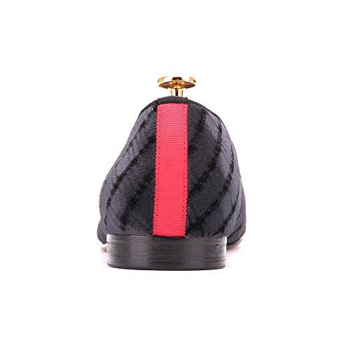 Hi & Hann Zapatos Hechos A Mano De Terciopelo Negro Para Hombres Con Bv Diseño Visual Weaving Slip-on Holgazán Antideslizante Para Fumadores