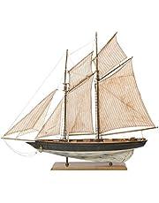 aubaho Modelo del velero yate de Vela Barco de Madera Buque Nave Modelo de Nave 85cm
