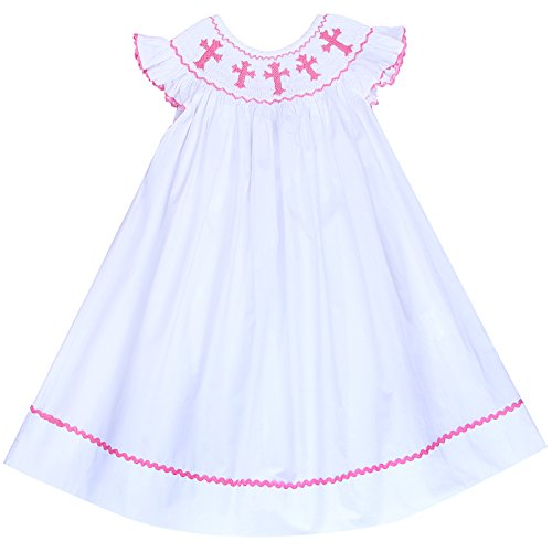 Boutique Little Girls Smocked Crosses Bishop Dress (3T)