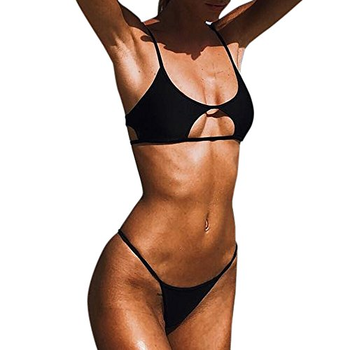 Weiliru Women's Ribbed Tie Bikini Brazilian Cheeky Bottom String Swimsuit Black