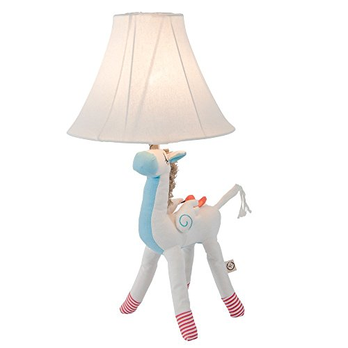 Unicorn Table Lamp Nursery Lamp for Girls,Home Decoration Table Lamp Cute Desk Lamp Light with Fabric Shade White by Dengbaba