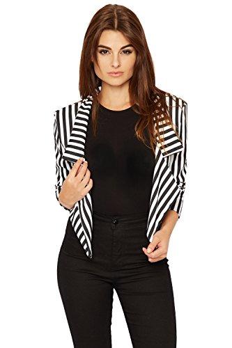 WearAll Women's Striped Crop Short Blazer - Black