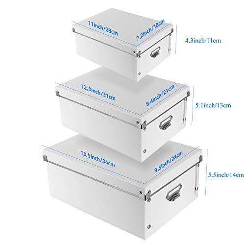 XUCHUN Decorative Storage Boxwith Lids,Set of 3 folding plastic box Multiple sizes for Clothes/Shoe Box/Office(White)