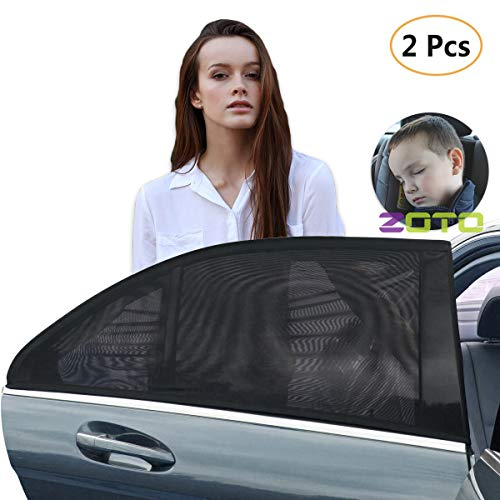 (ZOTO Car Rear Window Sun Shade, Premium Breathable Mesh Sun Shield Protect Baby/Pet from Sun's Glare & Harmful UV Rays, Universal Car Curtains Fit for Cars, Trucks and SUV's (Pack of 2,Large Size))