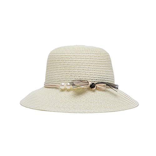 Fzwang Sol de Moda de Las Mujeres Sombreros Perla Protector Visera Casual  Poco a lo Largo de la Playa Pescador Sombrero Paja 60cm  Amazon.es  Hogar fb917872ed6