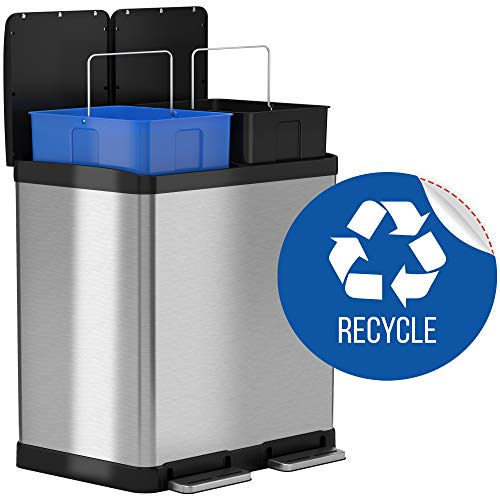 iTouchless 16 Gallon Dual Step Trash Can & Recycle Bin, Stainless Steel includes 2 x 8 Gallon (30L) Removable Buckets with Handles, Soft-close and Airtight - Recycle Decal included (Put The Recycle Bin In The Recycle Bin)