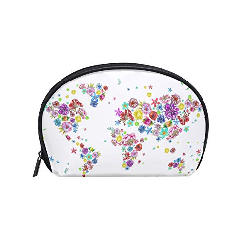 Senya Travel Cosmetic Bag Small Makeup Toiletry Bag Portable Carry Case Pouch Girls Women Personalized Organizer Tote Bag For Jewelry Toiletries Illustration Of World Map In Flowers ()