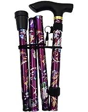 JZK Opvouwbare compacte wandelstok paars bloemen uittrekbare opvouwbare wandelstok in hoogte verstelbaar met armband en rubberen hoes voor thuis en op reis