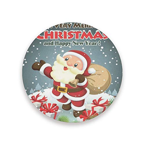 Coasters for Drinks,Vintage Christmas Santa Claus Ceramic Round Cork Trivet Heat Resistant Hot Pads Table Cup Mat Coaster-Set of 4 -