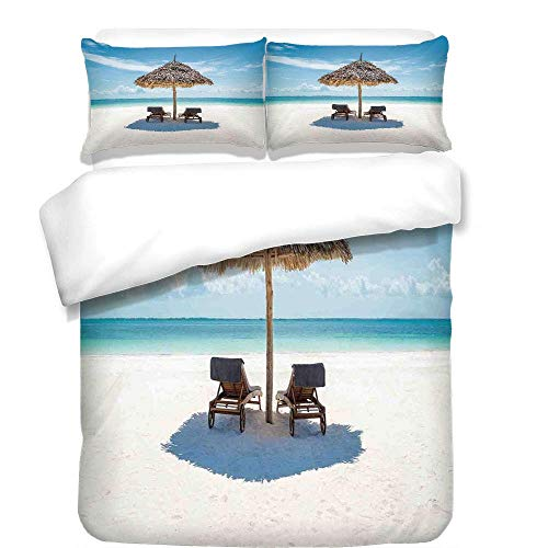 (VAMIX 3Pcs Duvet Cover Set,Seaside,Wooden Sun Loungers Facing Eastern Ocean Under a Thatched Umbrella in Zanzibar,Turquoise Cream,Best Bedding Gifts for Family/Friends,)