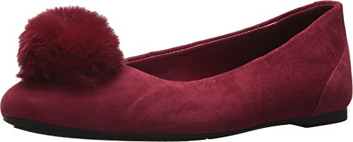 (Michael Michael Kors Womens Remi Suede Rabbit Fur Flats Red 8 Medium)