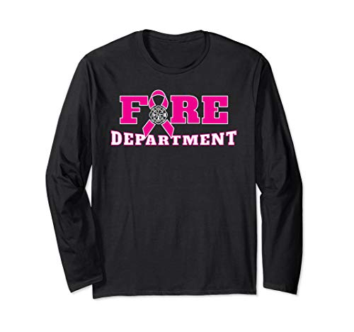Breast Cancer Awareness Fire Department Maltese Cross Design Long Sleeve T-Shirt